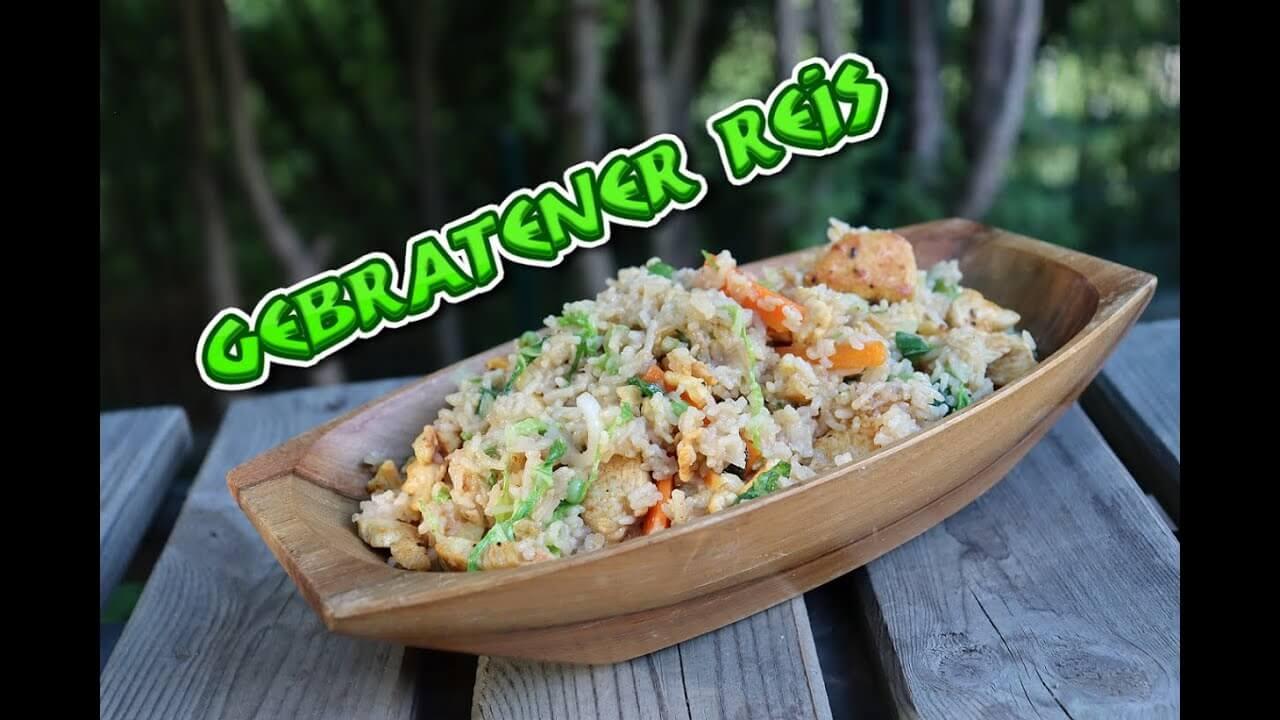 Gebratener Reis mit Hähnchen und Gemüse, Rezept, kao pad gai