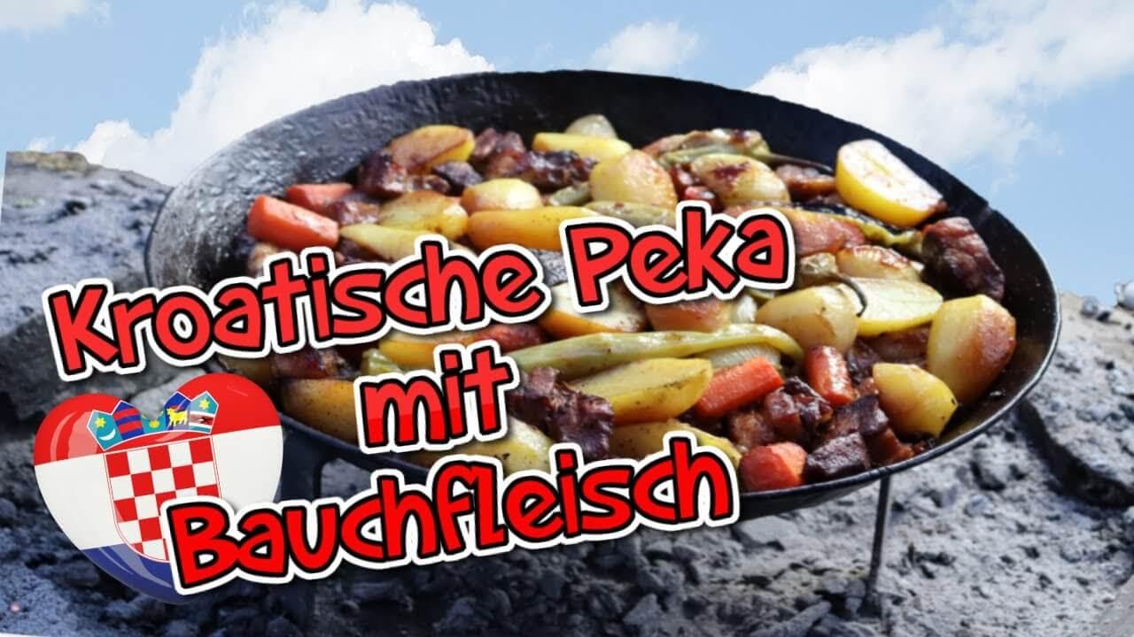 Kroatische Peka, Bauchfleisch, Schweinebauch, rezept, kroatisch, zart, zubereiten, Kochglocke, Marinade, Peka, Bauch, Schweinefleisch, Schweinebauch zart